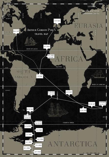 travel map Arthur Gordon Pym